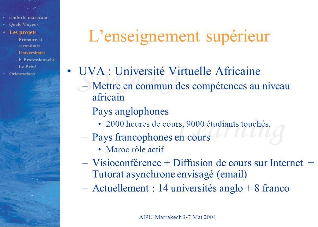 AIPU Marrakech 3-7 Mai 2004 L'enseignement supérieur UVA : Université Virtuelle Africaine –Mettre en commun des compétences au niveau africain –Pays anglophones 2000 heures de cours, 9000 étudiants touchés.