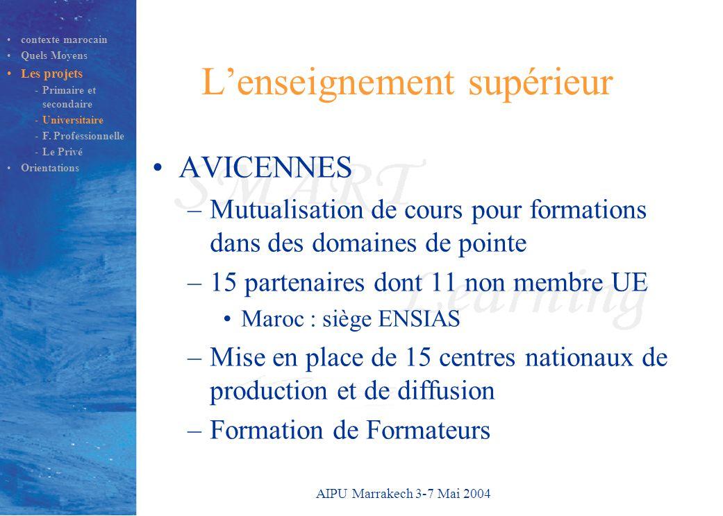 AIPU Marrakech 3-7 Mai 2004 L'enseignement supérieur AVICENNES –Mutualisation de cours pour formations dans des domaines de pointe –15 partenaires dont 11 non membre UE Maroc : siège ENSIAS –Mise en place de 15 centres nationaux de production et de diffusion –Formation de Formateurs contexte marocain Quels Moyens Les projets -Primaire et secondaire -Universitaire -F.