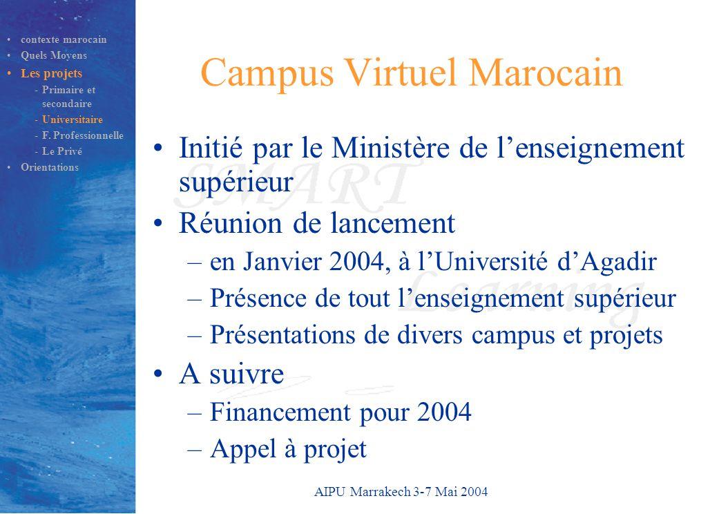 AIPU Marrakech 3-7 Mai 2004 Campus Virtuel Marocain Initié par le Ministère de l'enseignement supérieur Réunion de lancement –en Janvier 2004, à l'Uni