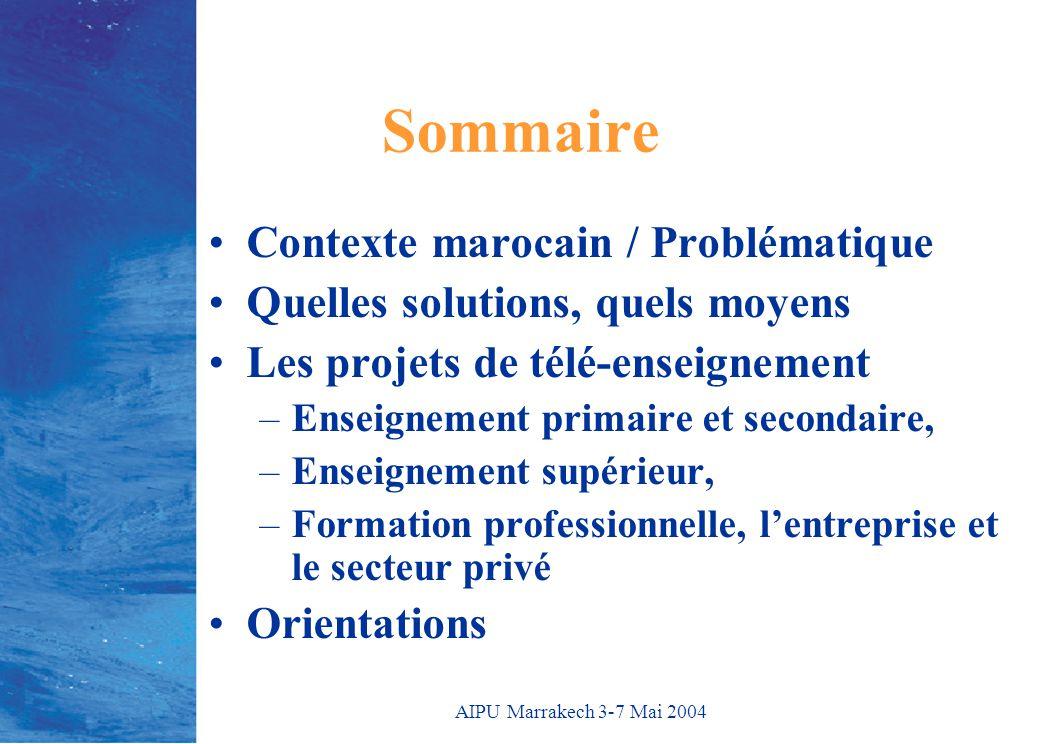 AIPU Marrakech 3-7 Mai 2004 Sommaire Contexte marocain / Problématique Quelles solutions, quels moyens Les projets de télé-enseignement –Enseignement primaire et secondaire, –Enseignement supérieur, –Formation professionnelle, l'entreprise et le secteur privé Orientations
