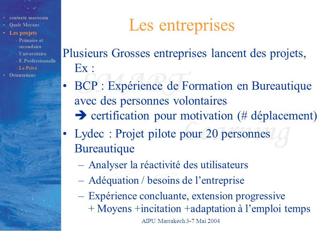 AIPU Marrakech 3-7 Mai 2004 Les entreprises Plusieurs Grosses entreprises lancent des projets, Ex : BCP : Expérience de Formation en Bureautique avec