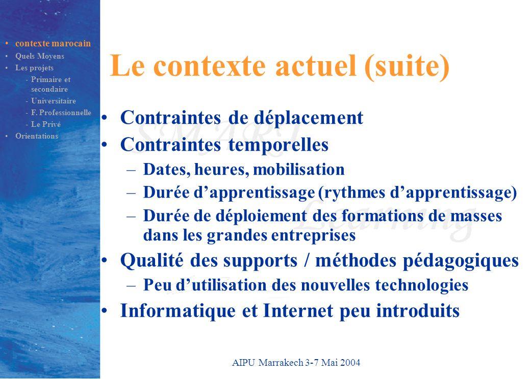 AIPU Marrakech 3-7 Mai 2004 Le contexte actuel (suite) Contraintes de déplacement Contraintes temporelles –Dates, heures, mobilisation –Durée d'appren