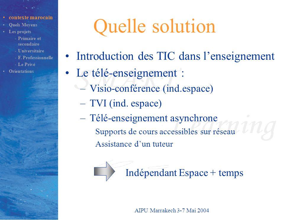 AIPU Marrakech 3-7 Mai 2004 Quelle solution Introduction des TIC dans l'enseignement Le télé-enseignement : –Visio-conférence (ind.espace) –TVI (ind.