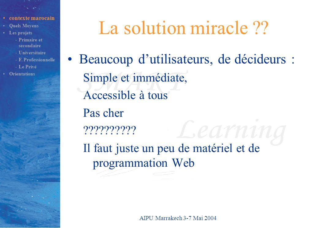 AIPU Marrakech 3-7 Mai 2004 SMART Learning Système de Télé-enseignement MM, Adaptable,coopéRatif, Indépendant Plate-forme marocaine Projet de Recherche SMART Learning –Depuis 1997, 15 chercheurs –Labo RIMt : EMI Production de cours en 2003-2004 –Développement en Technologies Web / XML –Réseaux Locaux Informatiques, UML –Accessible aux 2ème et 3ème cycle contexte marocain Quels Moyens Les projets -Primaire et secondaire -Universitaire -F.