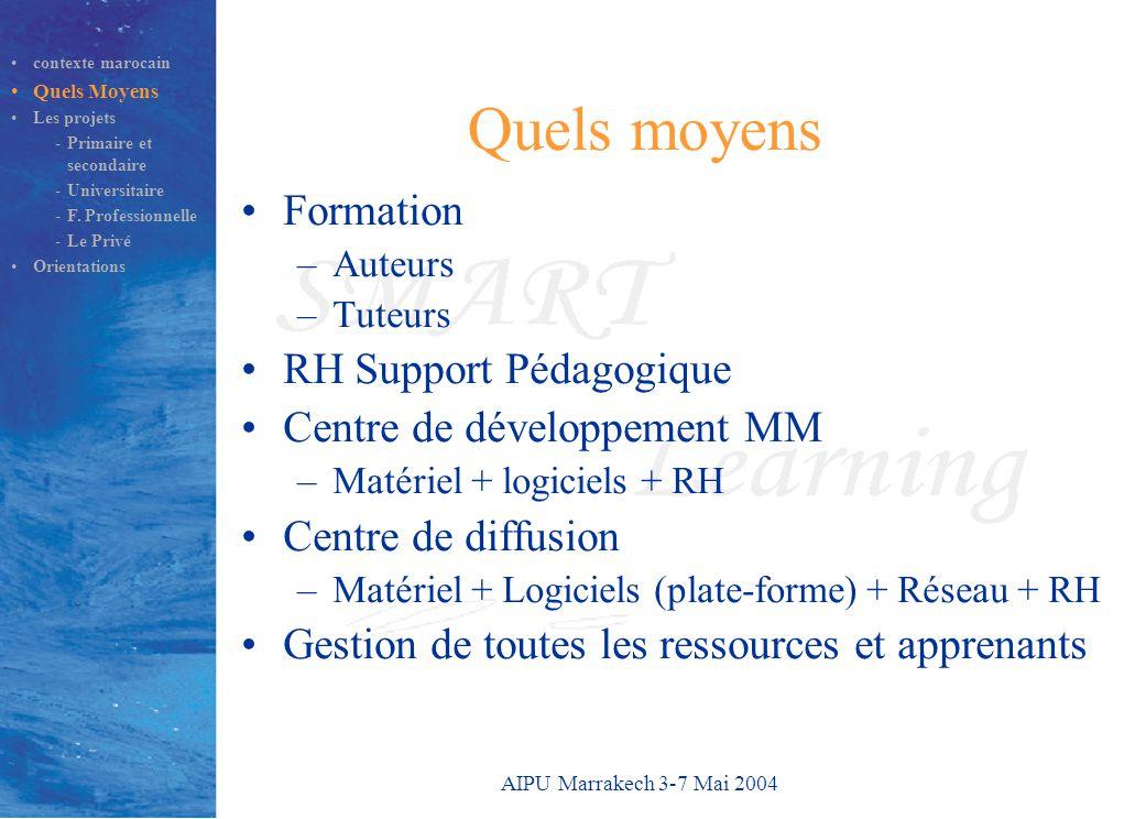 AIPU Marrakech 3-7 Mai 2004 Quels moyens Formation –Auteurs –Tuteurs RH Support Pédagogique Centre de développement MM –Matériel + logiciels + RH Centre de diffusion –Matériel + Logiciels (plate-forme) + Réseau + RH Gestion de toutes les ressources et apprenants contexte marocain Quels Moyens Les projets -Primaire et secondaire -Universitaire -F.