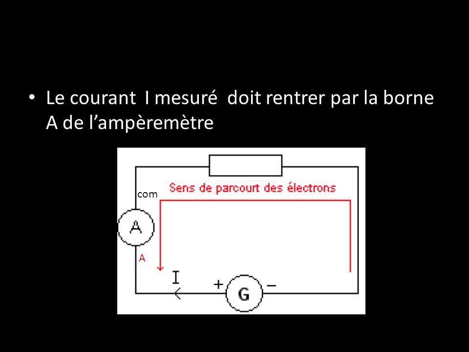 Le courant I mesuré doit rentrer par la borne A de l'ampèremètre A com