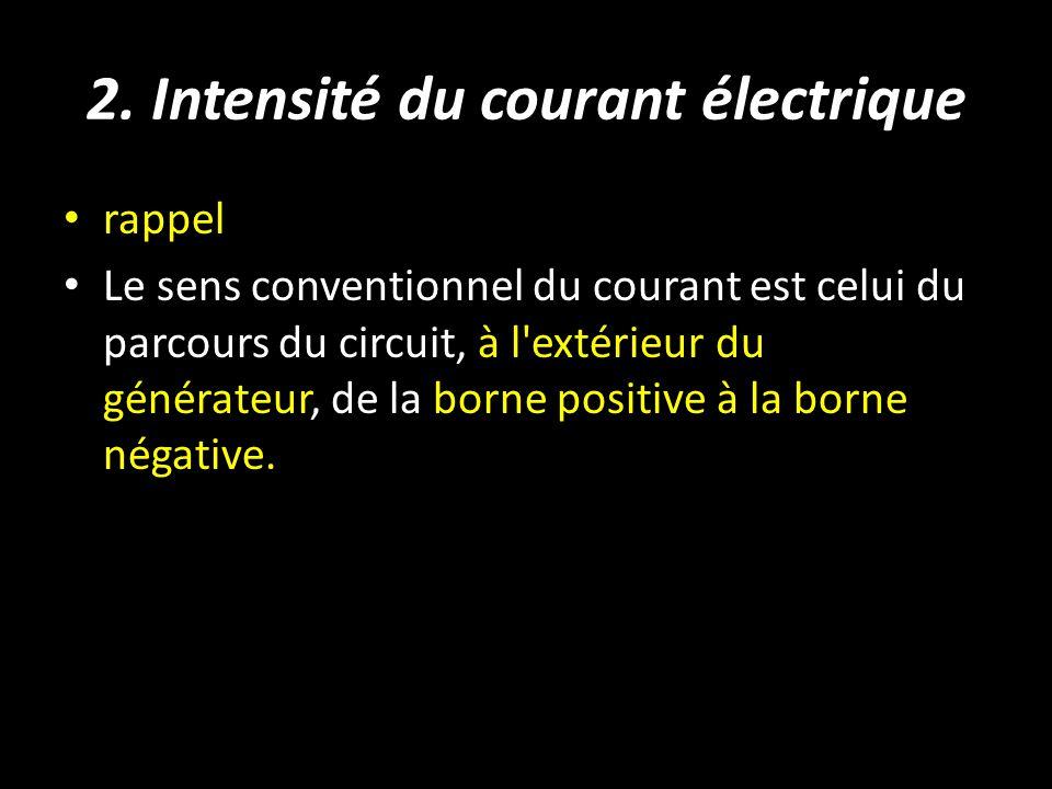 2. Intensité du courant électrique rappel Le sens conventionnel du courant est celui du parcours du circuit, à l'extérieur du générateur, de la borne