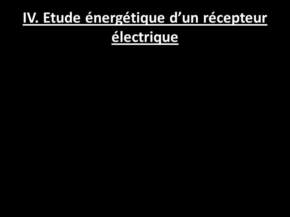 IV. Etude énergétique d'un récepteur électrique