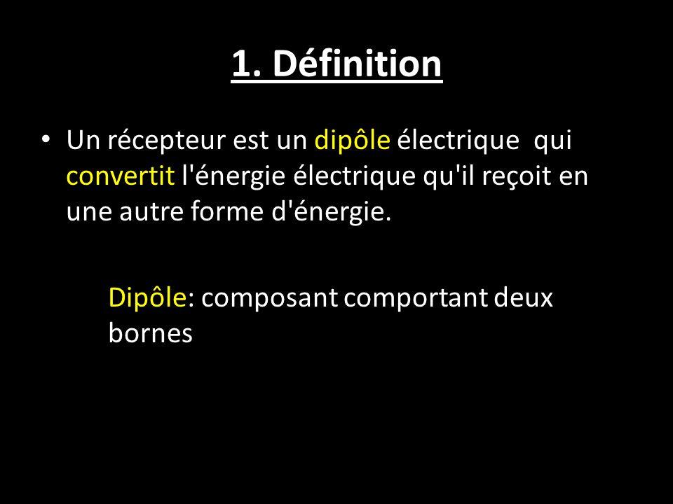 1. Définition Un récepteur est un dipôle électrique qui convertit l'énergie électrique qu'il reçoit en une autre forme d'énergie. Dipôle: composant co