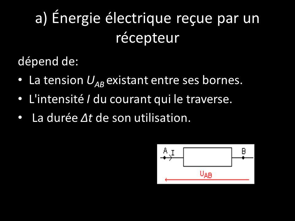 a) Énergie électrique reçue par un récepteur dépend de: La tension U AB existant entre ses bornes. L'intensité I du courant qui le traverse. La durée