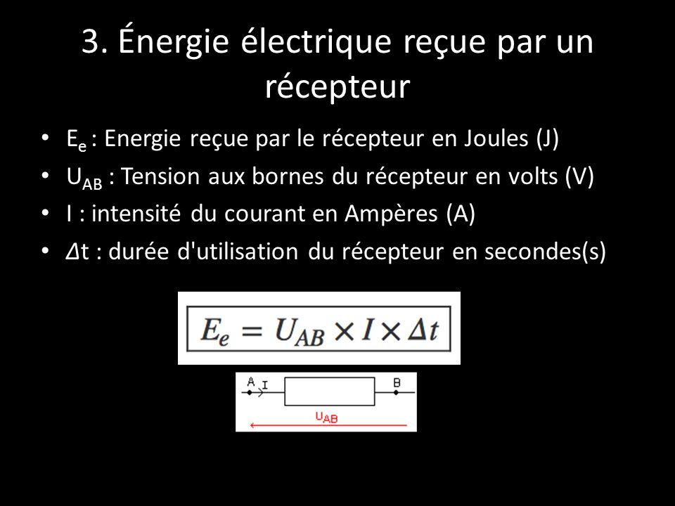 3. Énergie électrique reçue par un récepteur E e : Energie reçue par le récepteur en Joules (J) U AB : Tension aux bornes du récepteur en volts (V) I