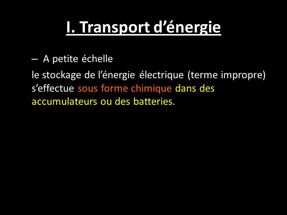 I. Transport d'énergie – A petite échelle le stockage de l'énergie électrique (terme impropre) s'effectue sous forme chimique dans des accumulateurs o