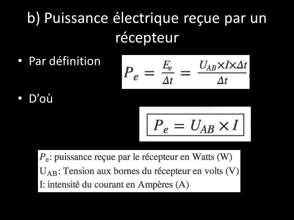 b) Puissance électrique reçue par un récepteur Par définition D'où
