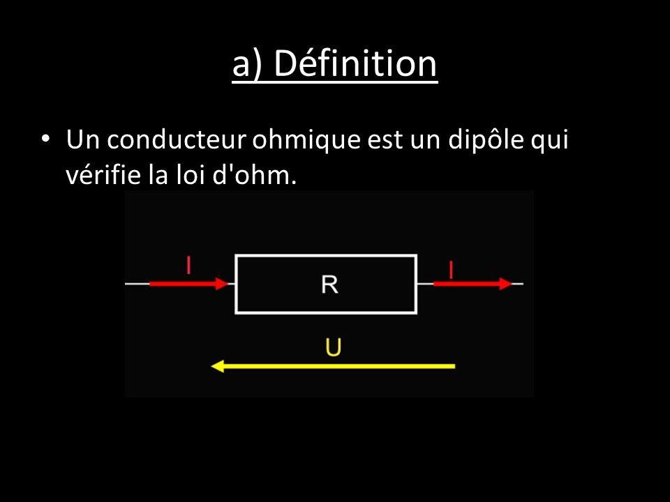 a) Définition Un conducteur ohmique est un dipôle qui vérifie la loi d'ohm.