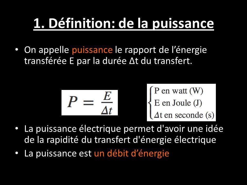 1. Définition: de la puissance On appelle puissance le rapport de l'énergie transférée E par la durée Δt du transfert. La puissance électrique permet
