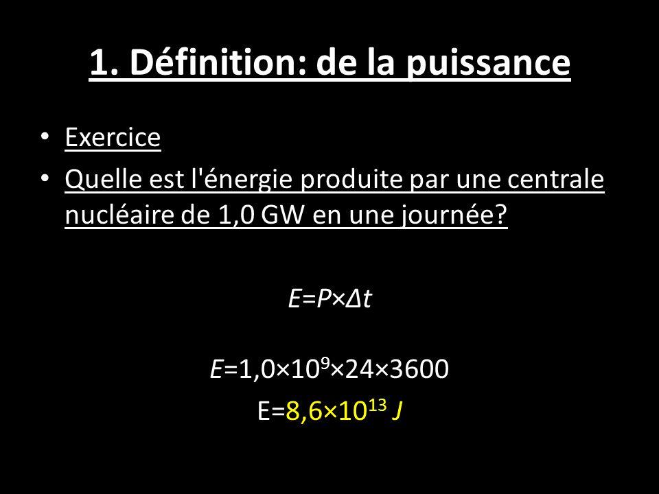 1. Définition: de la puissance Exercice Quelle est l'énergie produite par une centrale nucléaire de 1,0 GW en une journée? E=P×Δt E=1,0×10 9 ×24×3600
