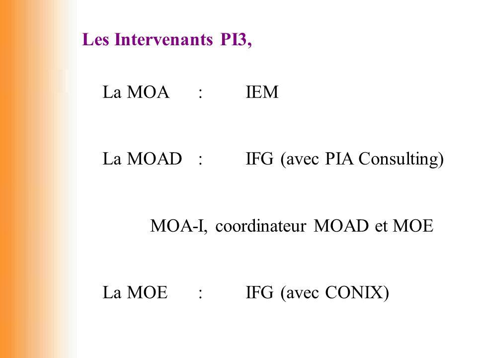 Les Intervenants PI3, La MOA :IEM La MOAD :IFG (avec PIA Consulting) MOA-I, coordinateur MOAD et MOE La MOE:IFG (avec CONIX)