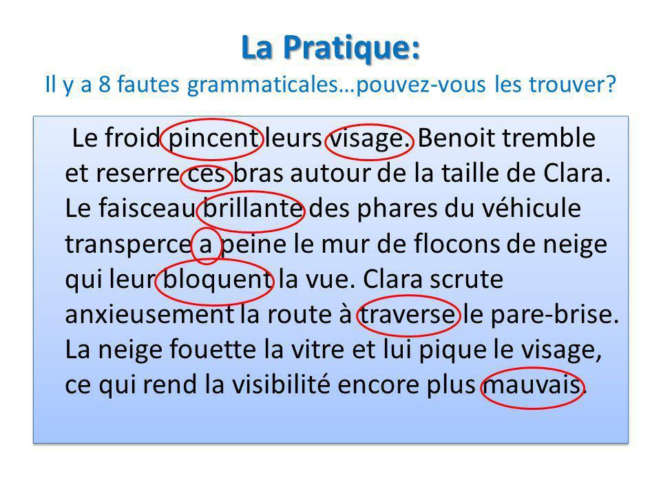 La Pratique: La Pratique: Il y a 8 fautes grammaticales…pouvez-vous les trouver? Le froid pincent leurs visage. Benoit tremble et reserre ces bras aut