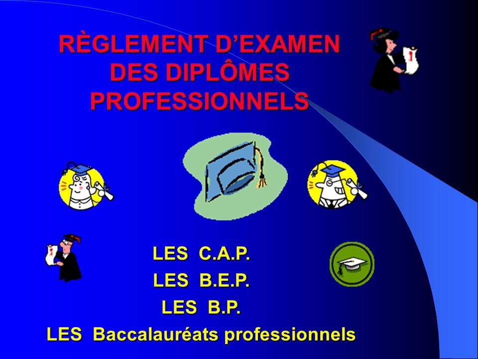 RÈGLEMENT D'EXAMEN DES DIPLÔMES PROFESSIONNELS LES C.A.P. LES B.E.P. LES B.P. LES Baccalauréats professionnels