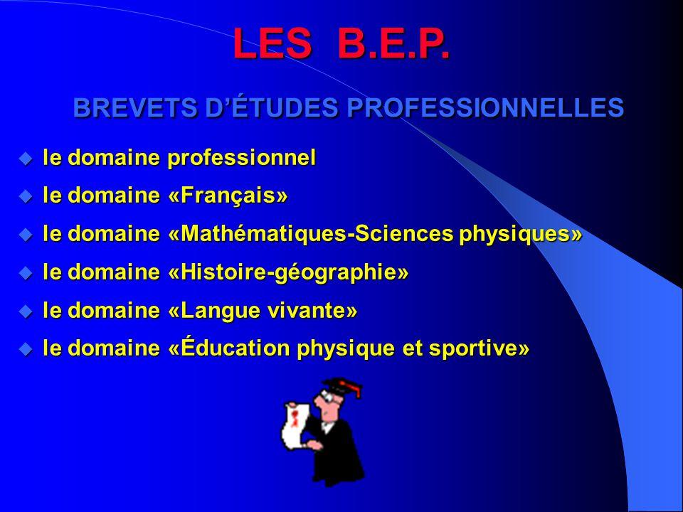 LES B.E.P. BREVETS D'ÉTUDES PROFESSIONNELLES  le domaine professionnel u le domaine «Français» u le domaine «Mathématiques-Sciences physiques» u le d
