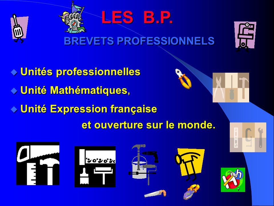 LES B.P. BREVETS PROFESSIONNELS u Unités professionnelles u Unité Mathématiques, u Unité Expression française et ouverture sur le monde.
