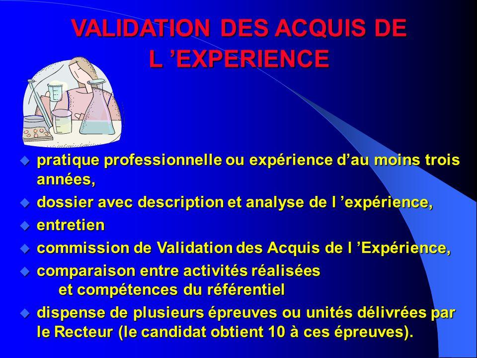 VALIDATION DES ACQUIS DE L 'EXPERIENCE u pratique professionnelle ou expérience d'au moins trois années, u dossier avec description et analyse de l 'e