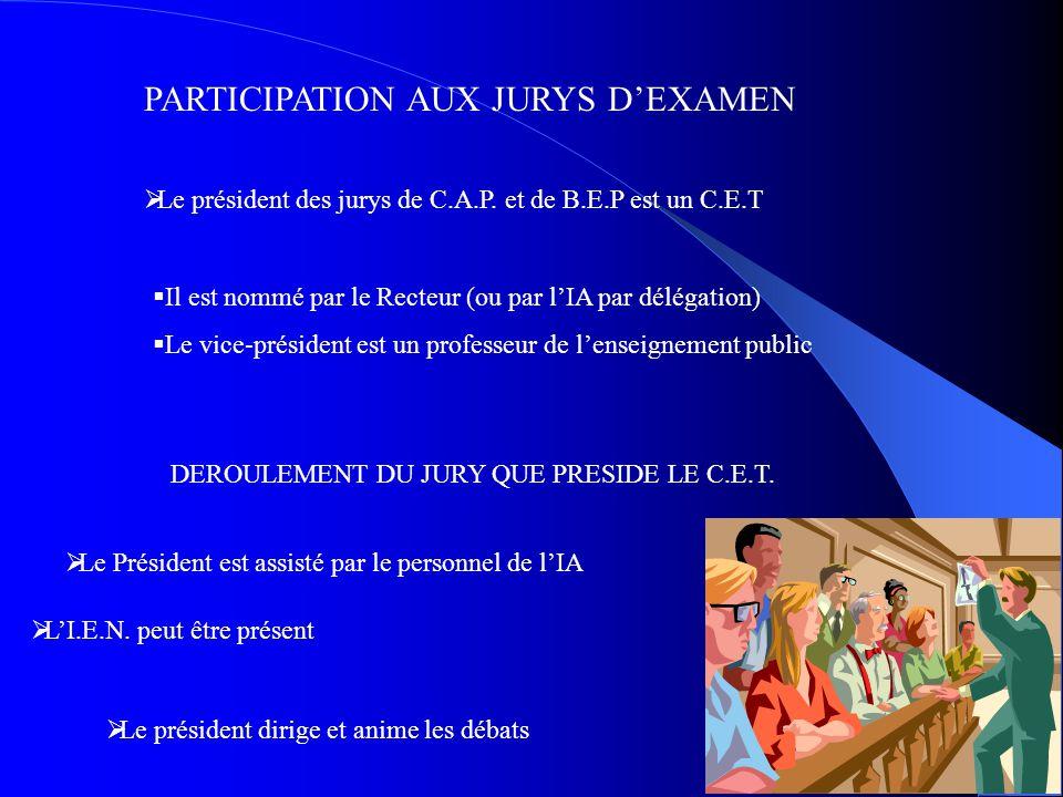 PARTICIPATION AUX JURYS D'EXAMEN  Le président des jurys de C.A.P. et de B.E.P est un C.E.T  Il est nommé par le Recteur (ou par l'IA par délégation
