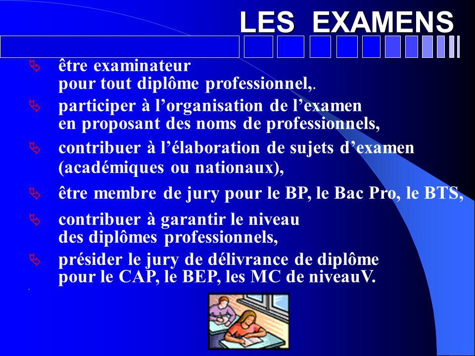 LES EXAMENS  être examinateur pour tout diplôme professionnel,.  participer à l'organisation de l'examen en proposant des noms de professionnels, 