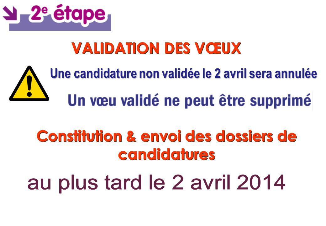 Une candidature non validée le 2 avril sera annulée