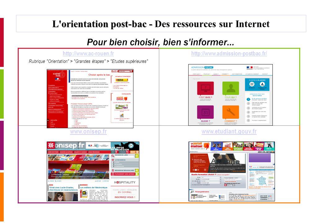 L'orientation post-bac - L'orientation post-bac - Des ressources sur Internet Pour bien choisir, bien s'informer... http://www.ac-rouen.fr Rubrique
