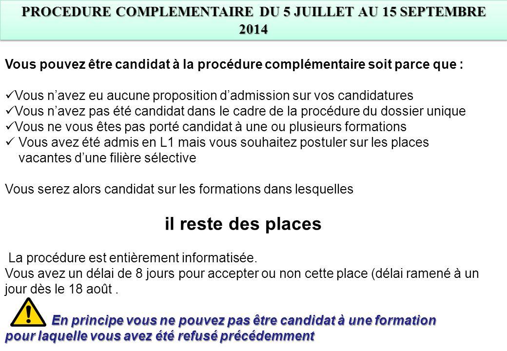 Vous pouvez être candidat à la procédure complémentaire soit parce que : Vous n'avez eu aucune proposition d'admission sur vos candidatures Vous n'ave