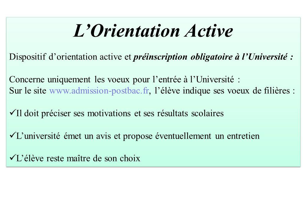 L'Orientation Active Dispositif d'orientation active et préinscription obligatoire à l'Université : Concerne uniquement les voeux pour l'entrée à l'Un