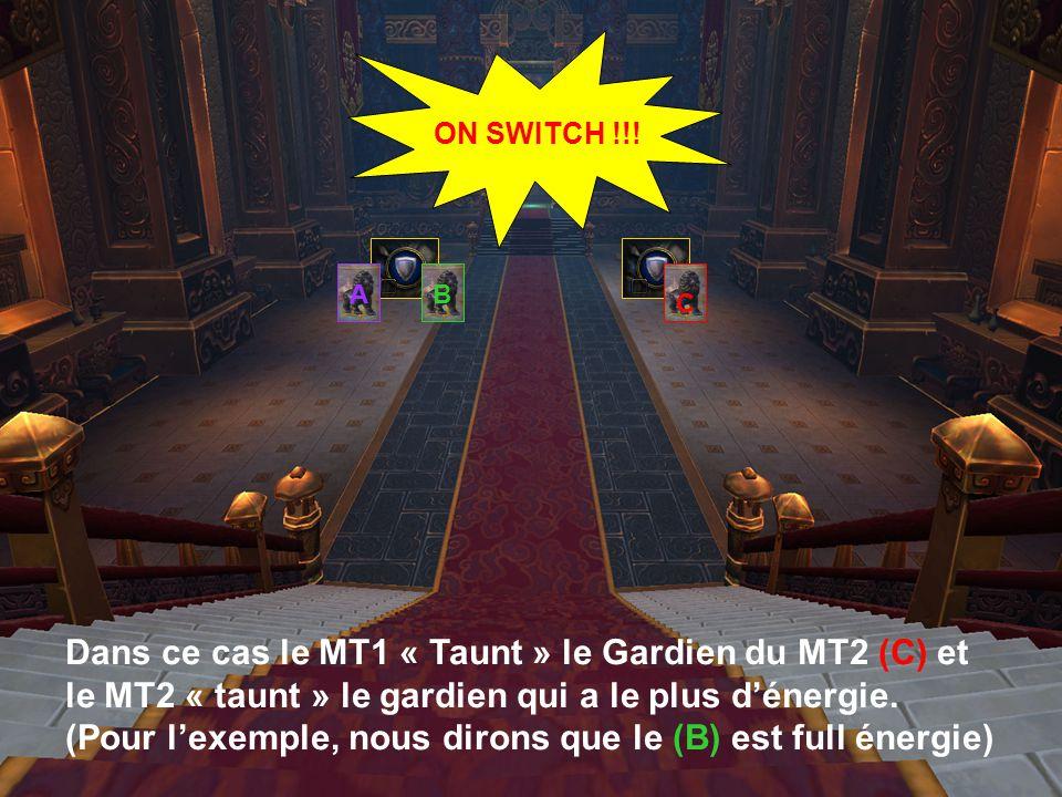 A Dans ce cas le MT1 « Taunt » le Gardien du MT2 (C) et le MT2 « taunt » le gardien qui a le plus d'énergie.