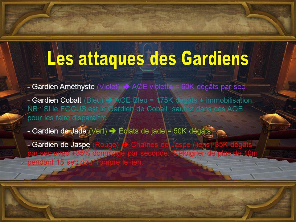 - Gardien Améthyste (Violet)  AOE violette = 60K dégâts par sec.