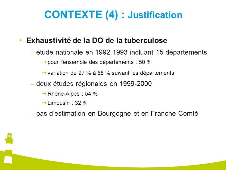 CONTEXTE (4) : Justification Exhaustivité de la DO de la tuberculose –étude nationale en 1992-1993 incluant 15 départements  pour l'ensemble des départements : 50 %  variation de 27 % à 68 % suivant les départements –deux études régionales en 1999-2000  Rhône-Alpes : 54 %  Limousin : 32 % –pas d'estimation en Bourgogne et en Franche-Comté