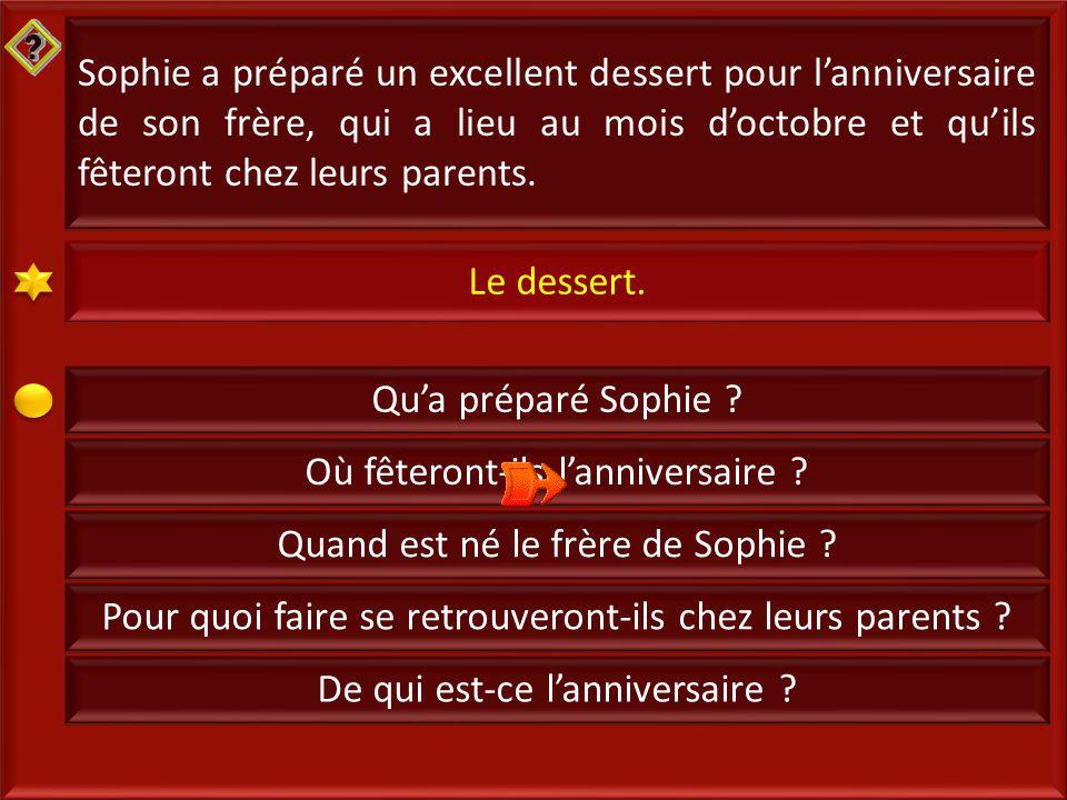 2 Sophie a préparé un excellent dessert pour l'anniversaire de son frère, qui a lieu au mois d'octobre et qu'ils fêteront chez leurs parents.