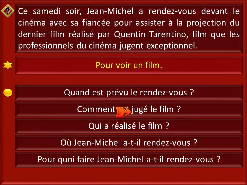 8 Ce samedi soir, Jean-Michel a rendez-vous devant le cinéma avec sa fiancée pour assister à la projection du dernier film réalisé par Quentin Tarentino, film que les professionnels du cinéma jugent exceptionnel.