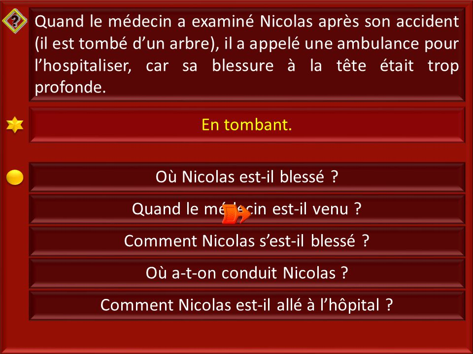 14 Quand le médecin a examiné Nicolas après son accident (il est tombé d'un arbre), il a appelé une ambulance pour l'hospitaliser, car sa blessure à la tête était trop profonde.