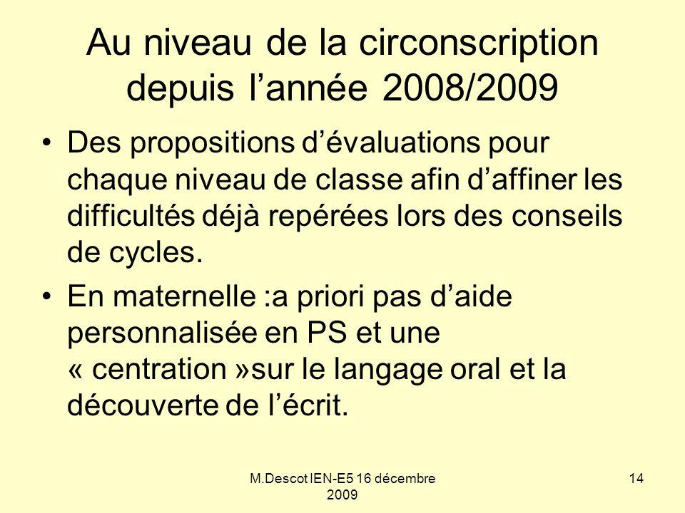 M.Descot IEN-E5 16 décembre 2009 Au niveau de la circonscription depuis l'année 2008/2009 Des propositions d'évaluations pour chaque niveau de classe