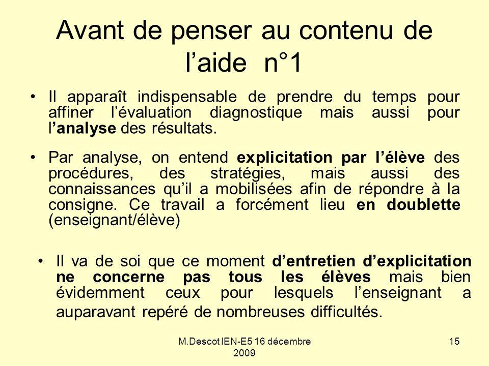 M.Descot IEN-E5 16 décembre 2009 Avant de penser au contenu de l'aide n°1 Par analyse, on entend explicitation par l'élève des procédures, des stratég