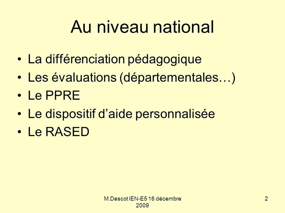 M.Descot IEN-E5 16 décembre 2009 Au niveau national La différenciation pédagogique Les évaluations (départementales…) Le PPRE Le dispositif d'aide per