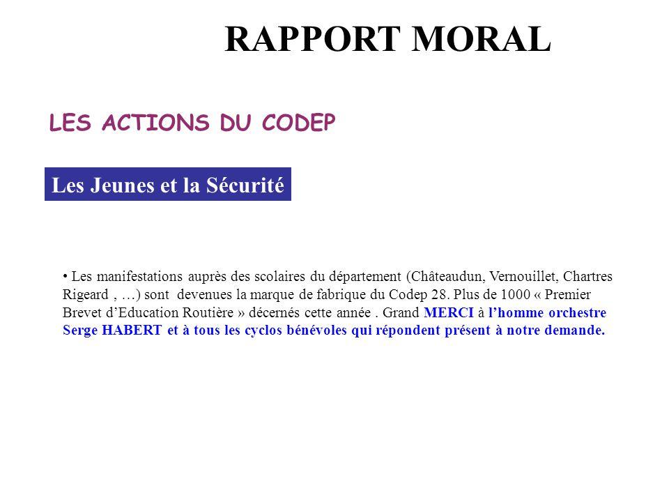 Les Jeunes et la Sécurité Les manifestations auprès des scolaires du département (Châteaudun, Vernouillet, Chartres Rigeard, …) sont devenues la marque de fabrique du Codep 28.