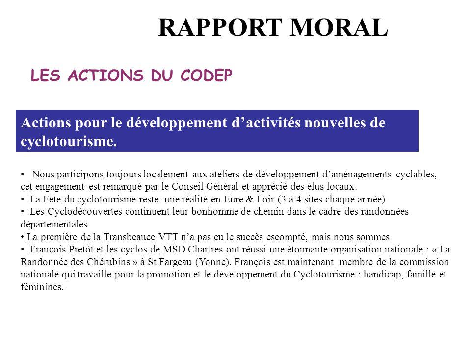 LES ACTIONS DU CODEP Actions pour le développement d'activités nouvelles de cyclotourisme. Nous participons toujours localement aux ateliers de dévelo