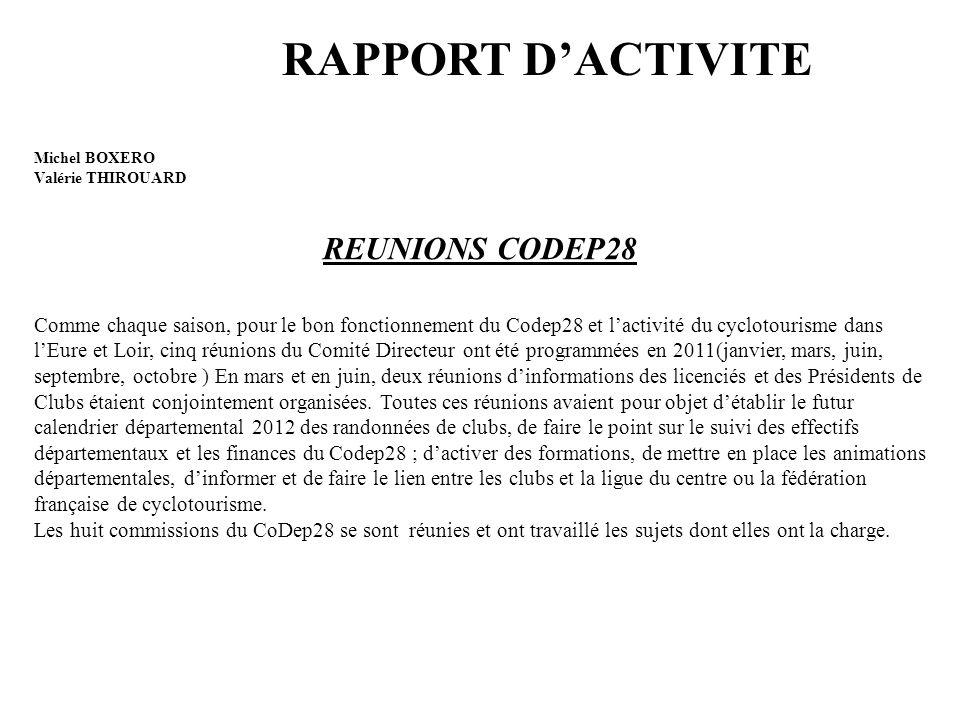 RAPPORT D'ACTIVITE Michel BOXERO Valérie THIROUARD REUNIONS CODEP28 Comme chaque saison, pour le bon fonctionnement du Codep28 et l'activité du cyclot