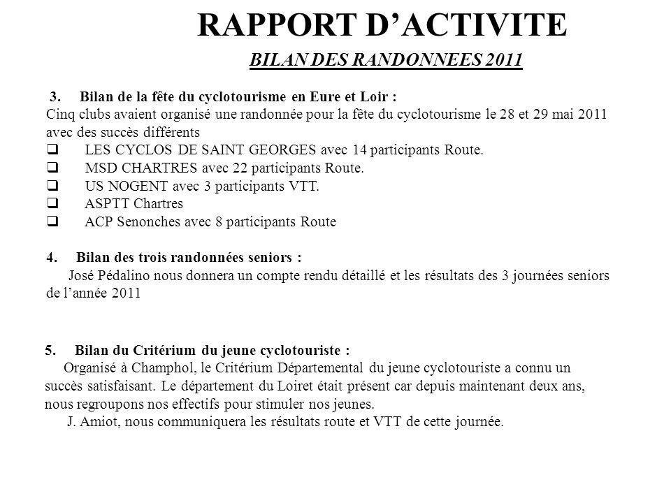 3. Bilan de la fête du cyclotourisme en Eure et Loir : Cinq clubs avaient organisé une randonnée pour la fête du cyclotourisme le 28 et 29 mai 2011 av