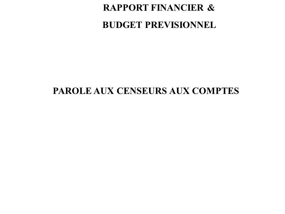 PAROLE AUX CENSEURS AUX COMPTES RAPPORT FINANCIER & BUDGET PREVISIONNEL