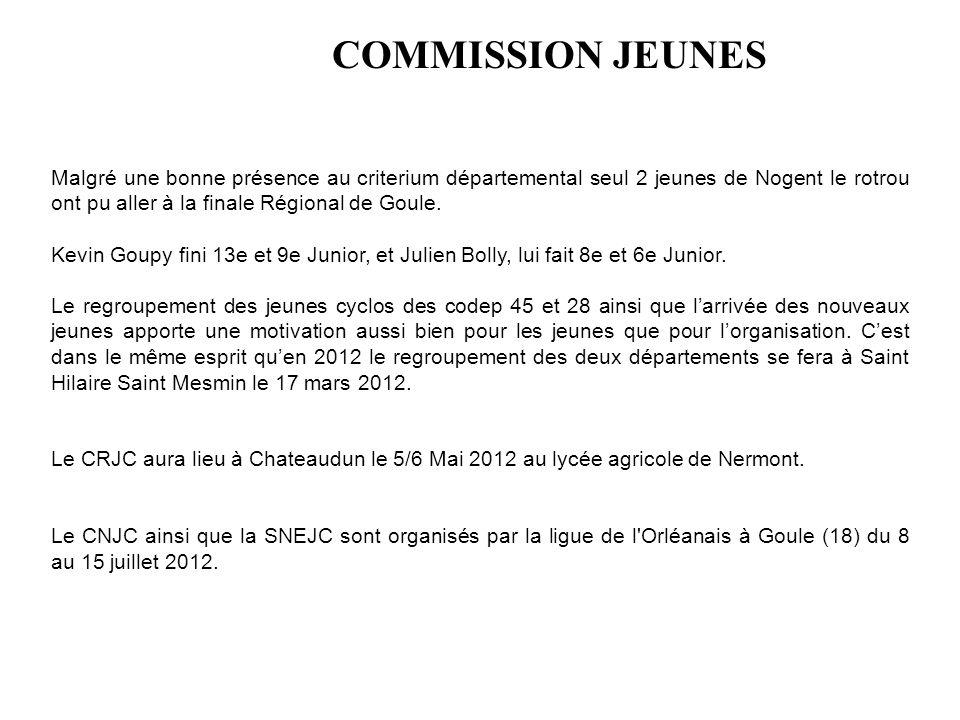 COMMISSION JEUNES Malgré une bonne présence au criterium départemental seul 2 jeunes de Nogent le rotrou ont pu aller à la finale Régional de Goule. K