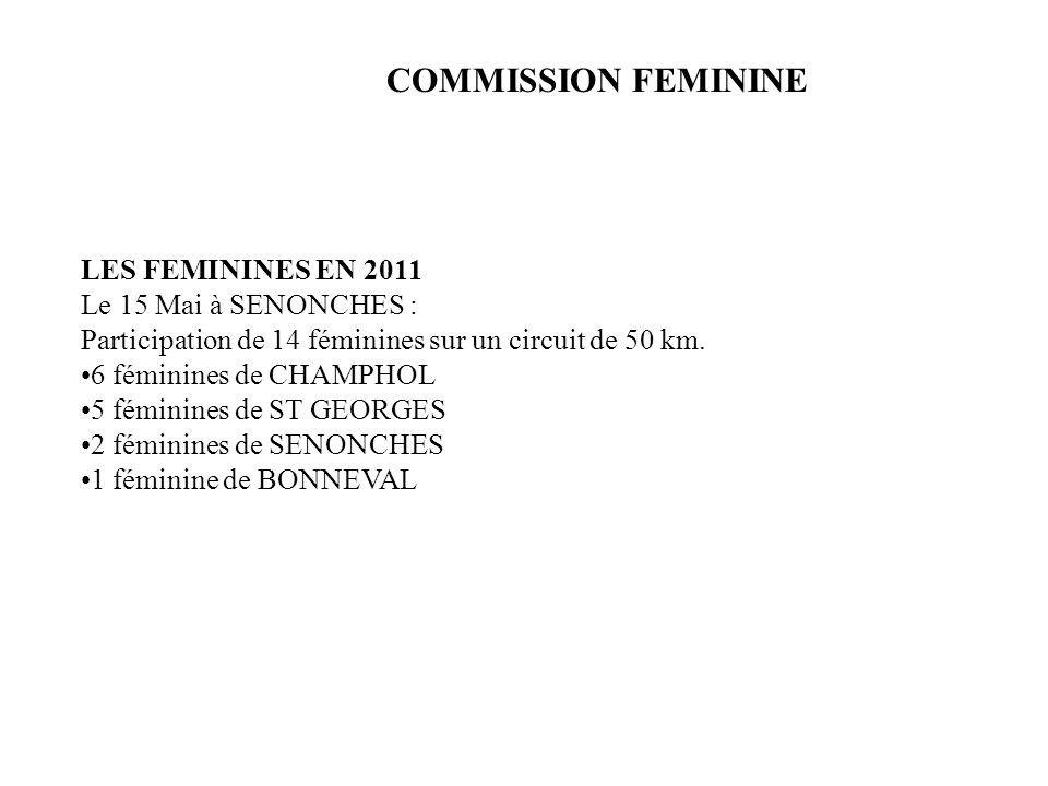 COMMISSION FEMININE LES FEMININES EN 2011 Le 15 Mai à SENONCHES : Participation de 14 féminines sur un circuit de 50 km. 6 féminines de CHAMPHOL 5 fém