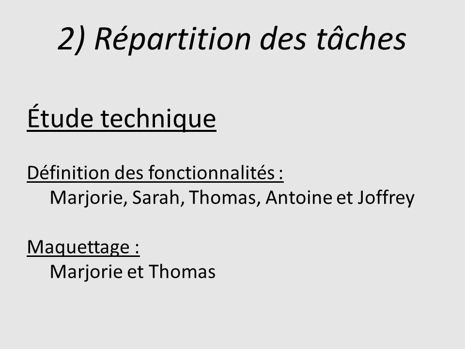 2) Répartition des tâches Étude technique Définition des fonctionnalités : Marjorie, Sarah, Thomas, Antoine et Joffrey Maquettage : Marjorie et Thomas