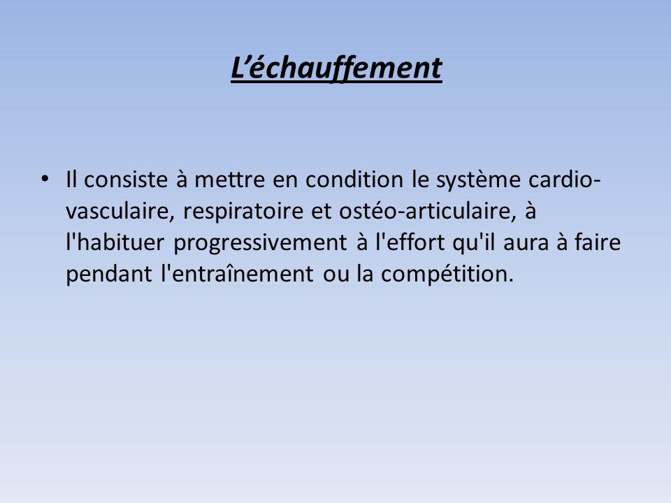 Il consiste à mettre en condition le système cardio- vasculaire, respiratoire et ostéo-articulaire, à l habituer progressivement à l effort qu il aura à faire pendant l entraînement ou la compétition.